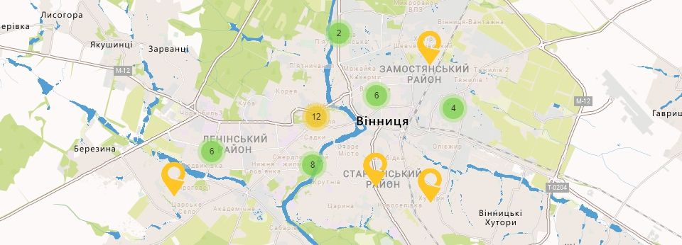 Карта України Вінницькій області Відділення УкрПошта
