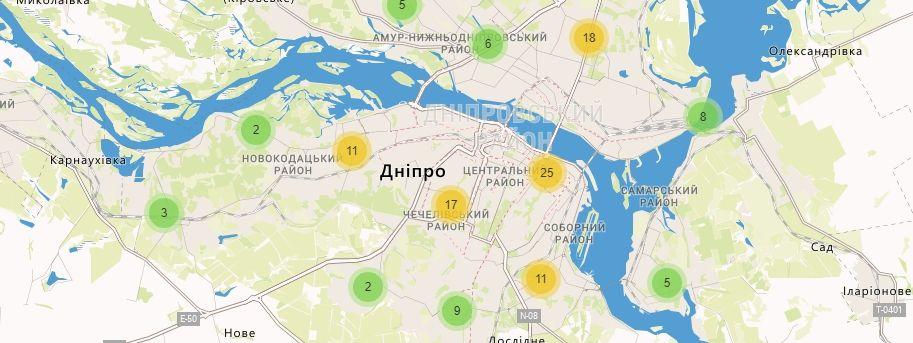 Карта України Дніпропетровській області Відділення УкрПошта