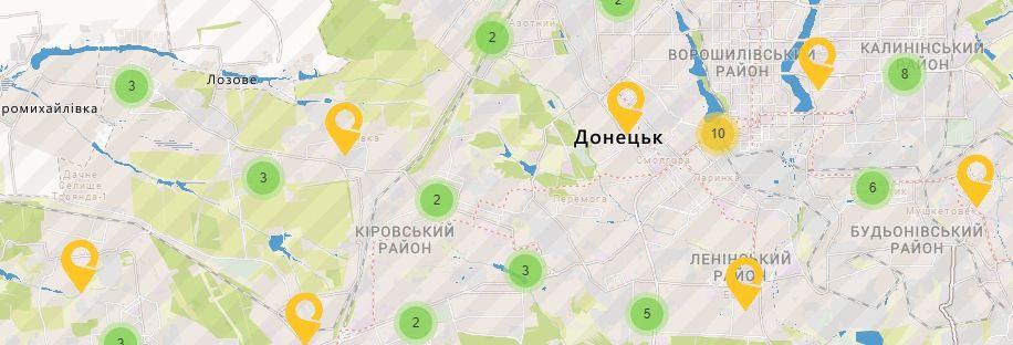 Карта України Донецькій області Відділення УкрПошта