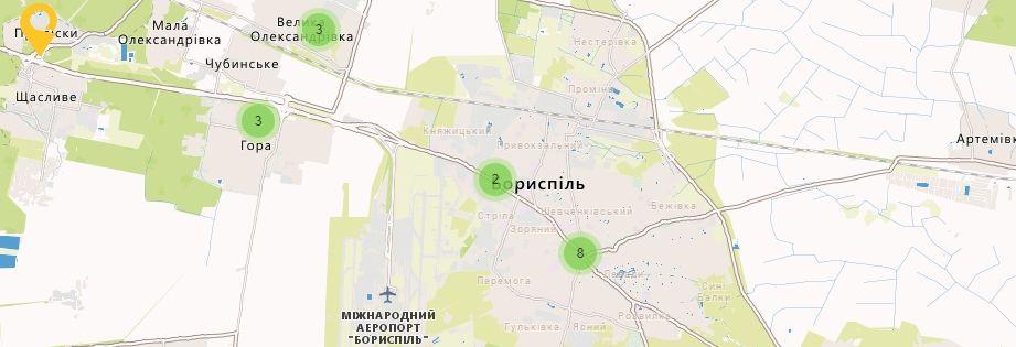 Карта України Київській області Відділення УкрПошта