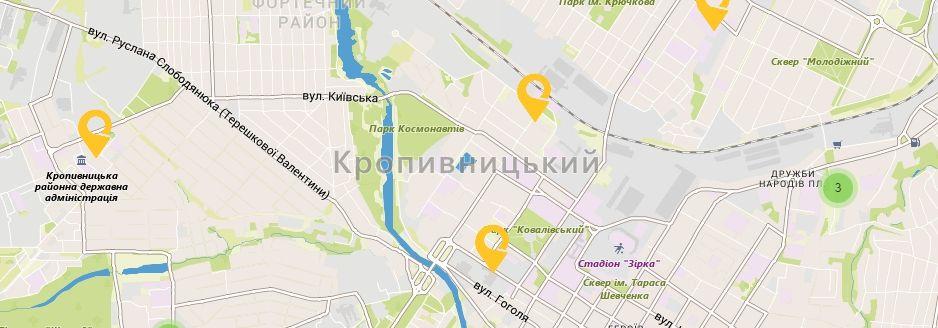 Карта України Кіровоградській області Відділення УкрПошта