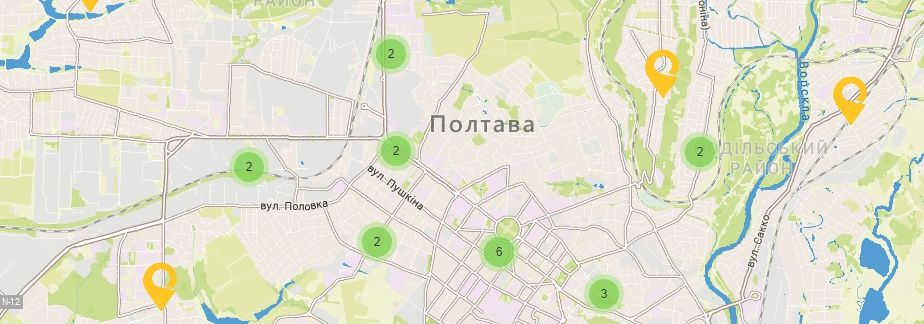 Карта України Полтавській області Відділення УкрПошта