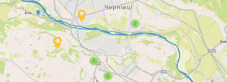 Карта України Чернівецькій області Відділення УкрПошта